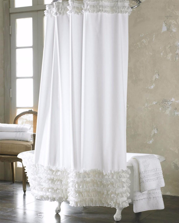 Cortinas De Baño Por Mayor:White Ruffle Shower Curtain