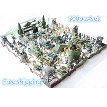 Set plastic toy small soldier boy sand table model toy Full 300pcs/set soldier Military Bases Set classic toys Free shipping(China (Mainland))
