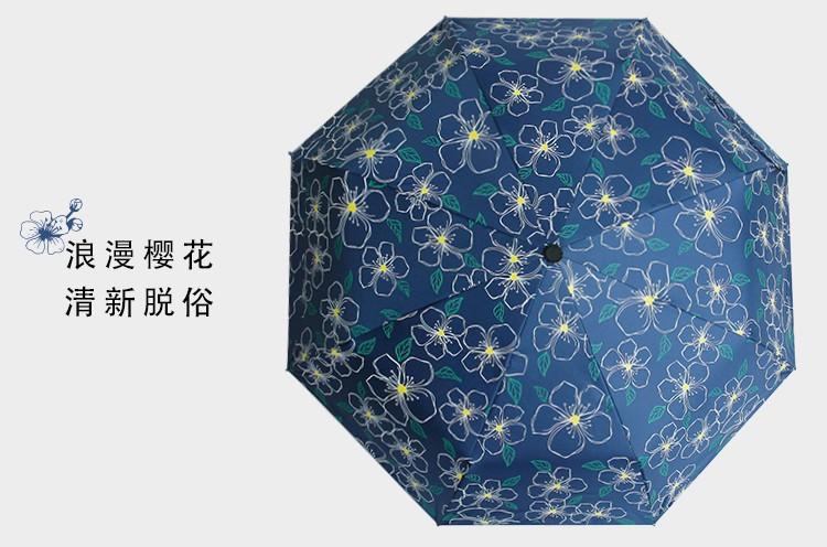 2017 New Korean style blue cherry tree brand black coating UV three folding  Sunny   Rain parasol umbrella rain women - us219 6a80da41a60d