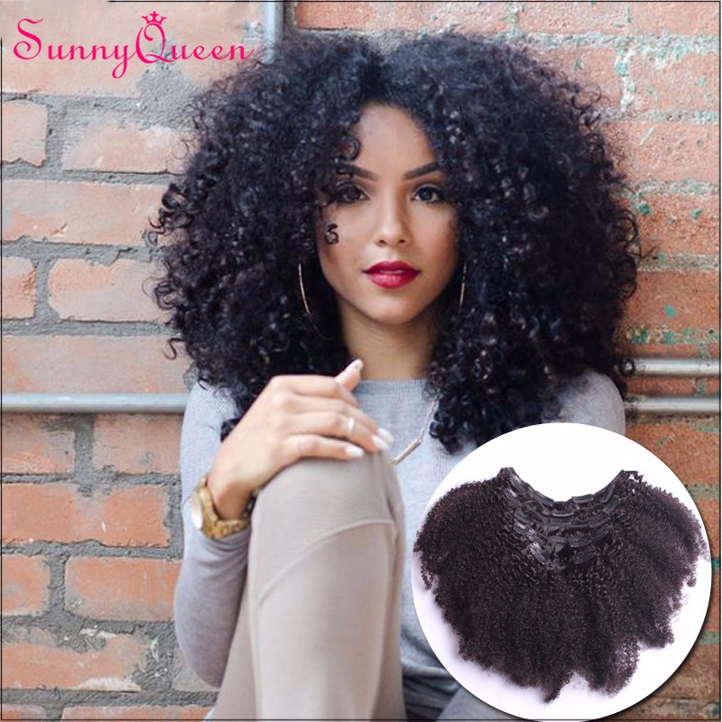 Clip In Human Hair Extensions Afro Kinky Curly Indian Virgin Hair Natural Clip In Hair Extension 7PCS Curly Hair Extensions