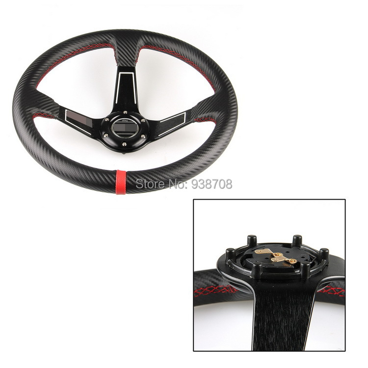 Free Shipping Universal Comfortable PVC Car Racing Steering Wheel with Carbon Fiber Pattern Water-Proof Slip-Resistant(China (Mainland))