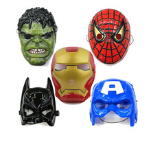 5pcs/lot,Spiderman Hulk Batman Captain America Ironman Avengers  Face Mask Plastic Children Halloween Masquerade Party Toys(China (Mainland))