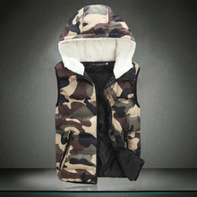High Quality Down Cotton Camouflage vest new 2015 cotton outerwear lovers hooded man vest plus size M-4XL 5XL, Outerwear & Coats(China (Mainland))