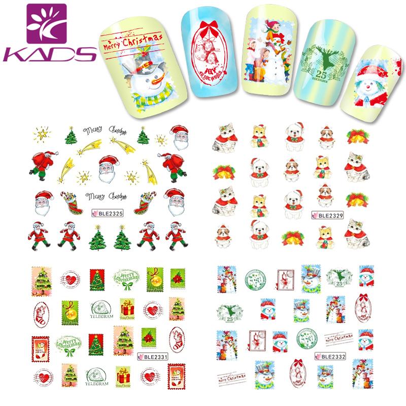 BLE2325-2335 Christmas design nail art sticker Santa Claus & gifs & snowman & Lovely cat nail art stickers decoration(China (Mainland))