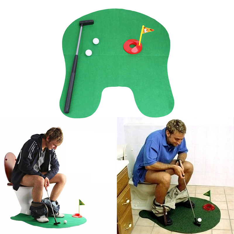 New Toilet Bathroom Mini Golf Potty Putter Game Men's Toy Novelty Gift Adults Golf Practice Models Toys Gift(China (Mainland))