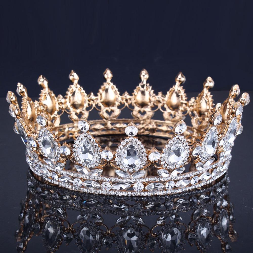 Luxury Vantage Gold Wedding Crown Alloy Bridal Tiara Baroque Queen King Crown 18K gold plated rhinestone tiara crown<br><br>Aliexpress