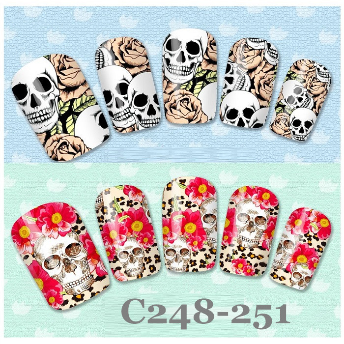4 peces birds pink type C248-251 Nail Art Water seal transfer printing applique rose design stickers(China (Mainland))