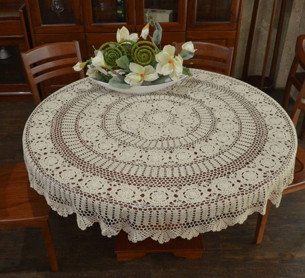 160CM round white Tablecloth Handmade Hook Needle Crochet Tablecloth Fashion Vintage Rustic 100% Cutout Big Round Dining Table(China (Mainland))
