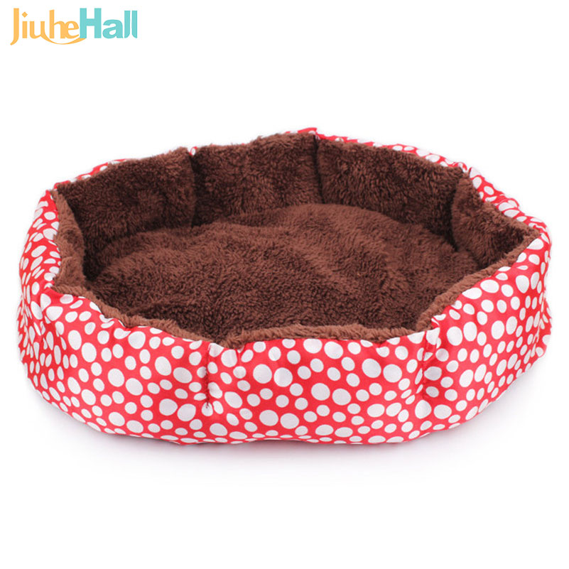 2016 Hot Sale Dog Bed Cute Dot Pattern Camas Para Perros Soft Indoor Puppy Pet House With Mat 4 Colors Free Shipping CLD018(China (Mainland))
