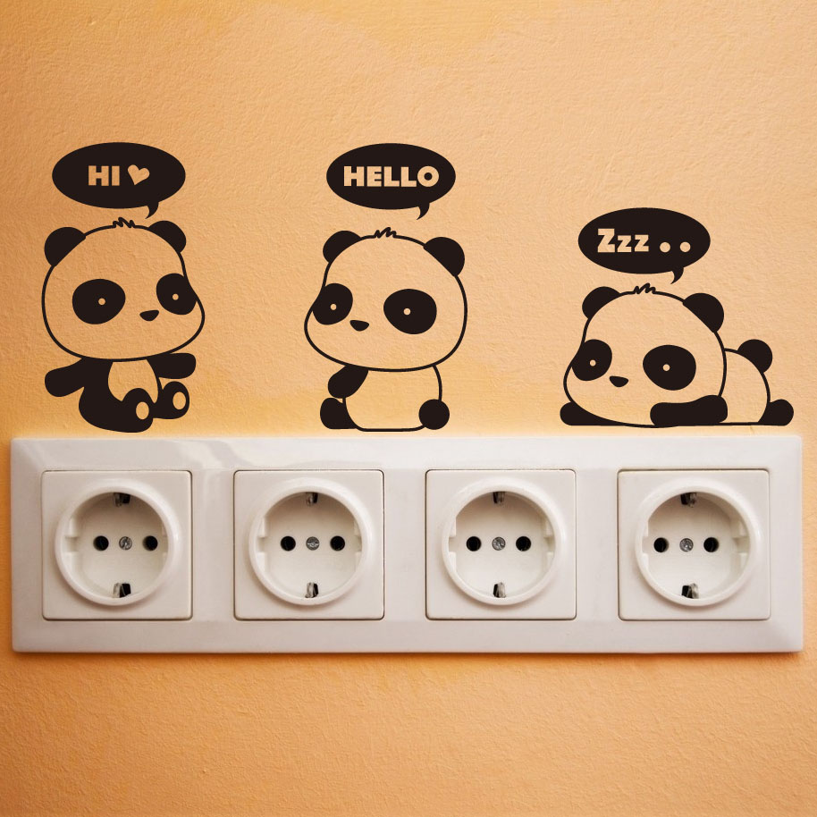cute kawaii Creative Panda wall stickers for kid rooms wall decor home decor switch stickers window glass bedroom dormitory(China (Mainland))