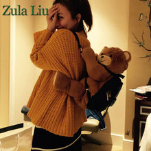 2016 Zula Liu Fashion plush bear bag cute cartoon kids girls big plush doll backpakcs Black Pu leather backpack shoulder bags(China (Mainland))