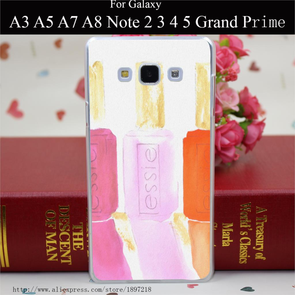1048RW Essie In Pink Hard Transparent Painted Cover for A3 A5 A7 A8 E5 E7 J5 J7 Grand Prime Grand 2 Case(China (Mainland))