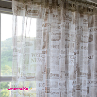 European and American style voile curtain newspaper design sheer curtain panel finished products