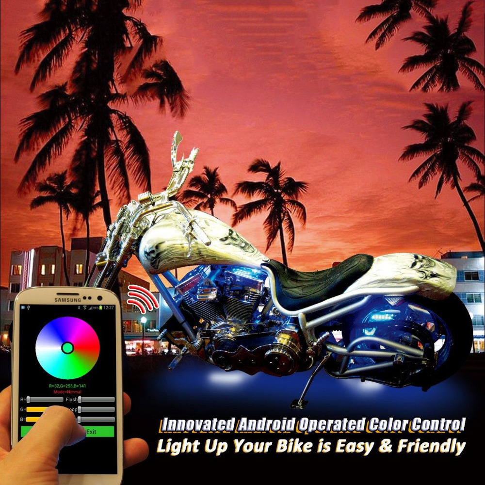 New version!12V 5050SMD 10pcs Smartphone Android APP Controll Motorcycle LED Kits Million Color waterproof fixable LED strip(China (Mainland))