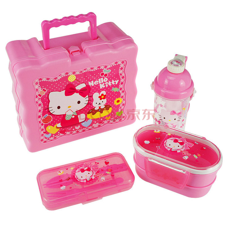 Travel dinnerware set Outdoor Eco-friendly plastic tableware Hello kitty dinnerware sets Microwave lunch box for girl gift(China (Mainland))