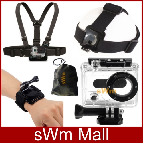 Go Pro Sj4000 Accessorie Head Belt+Chest Belt+Wrist Strap+Bag+Camera Waterproof
