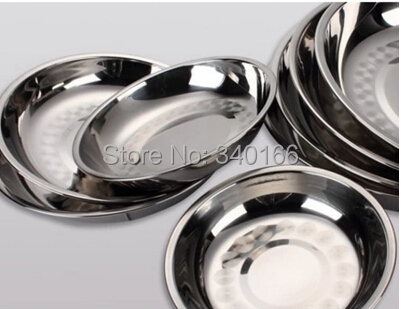Free Shipping! 14cm --5pcs/lot Thicken Stainless Steel Round Dish,Fast Food Tray Plate,Soup Dish Plate,Canteens Tableware(China (Mainland))
