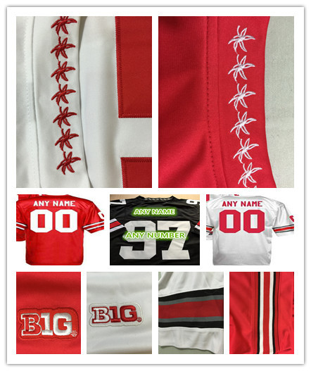 100% Stitched Personalized Custom Any Name Any Number Ohio State Buckeyes College Football Jerseys Red White Black Good Quality(China (Mainland))