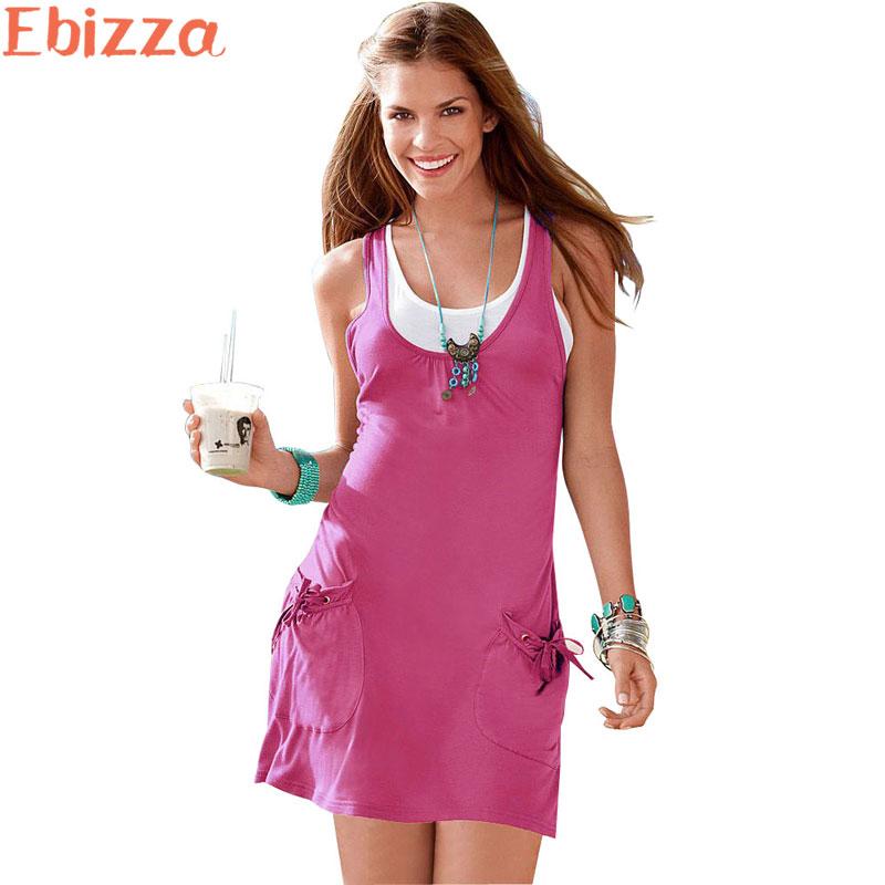 Ebizza Europe Sleeveless Two Piece Set A-Line Short Dress Women 2017 Summer O Neck Tank Fashion Mini Vest Dresses Pockets