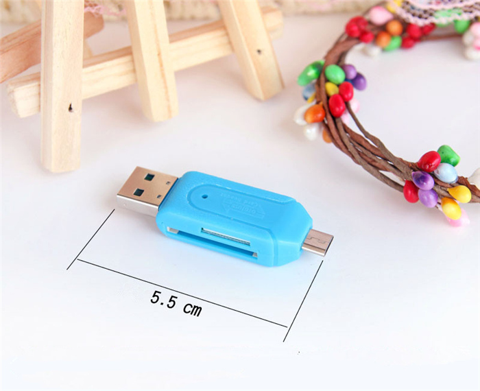 1pc Free Shipping Universal Card Reader Mobile phone PC card reader Micro USB OTG Card Reader