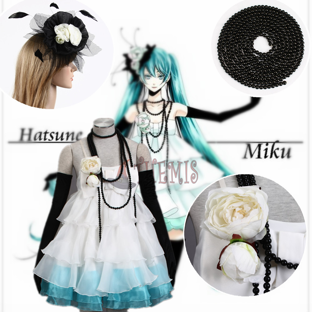 Athemis Vocaloid  Cosplay Costume Miku dress Dlower Jewelry Hatsune outfit cosplay dress accessoriesОдежда и ак�е��уары<br><br><br>Aliexpress