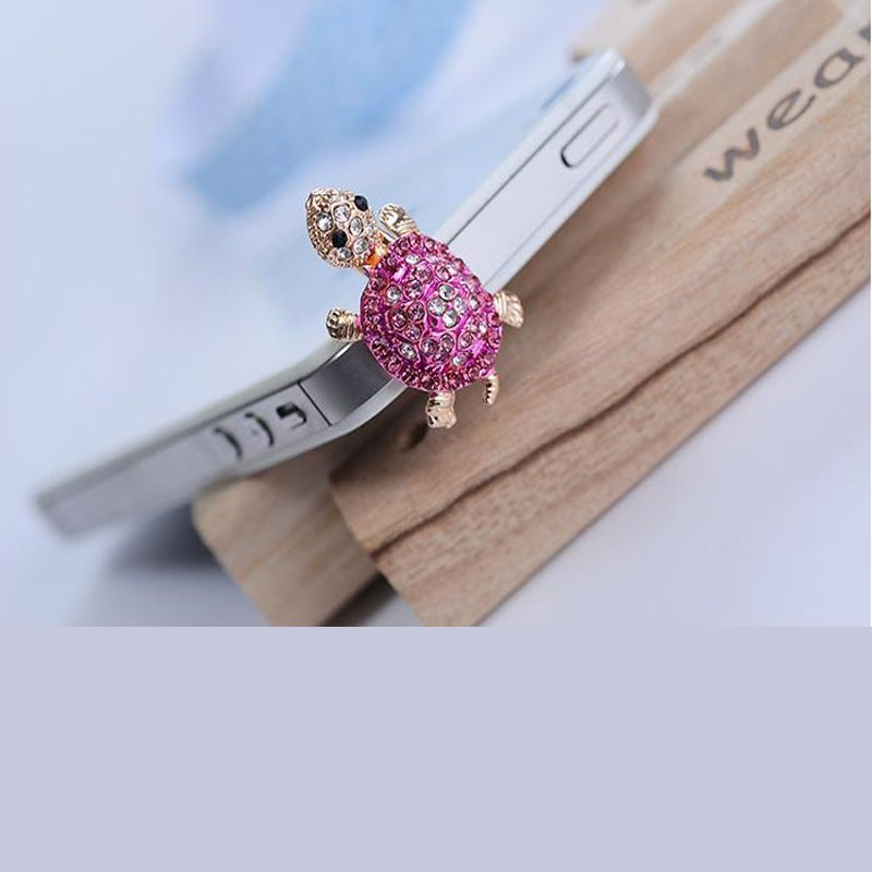Korea Lovely Turtle Crystal Cell Phone Headset Dust Plug For iPhone 5/5s/6/6s/6 plus Samsung Xiaom(China (Mainland))