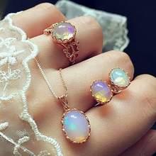 Dreambell 3 pçs/set conjunto de jóias femininas cor ouro luxo opala anel brincos pingente colar casamento conjunto de jóias(China)