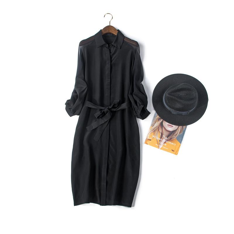 Sheer Lantern Sleeve Women Spring Dresses 2016 New Arrival Midi Dresses with Sashes100% Silk Black Robe Ete 2016 SummerОдежда и ак�е��уары<br><br><br>Aliexpress