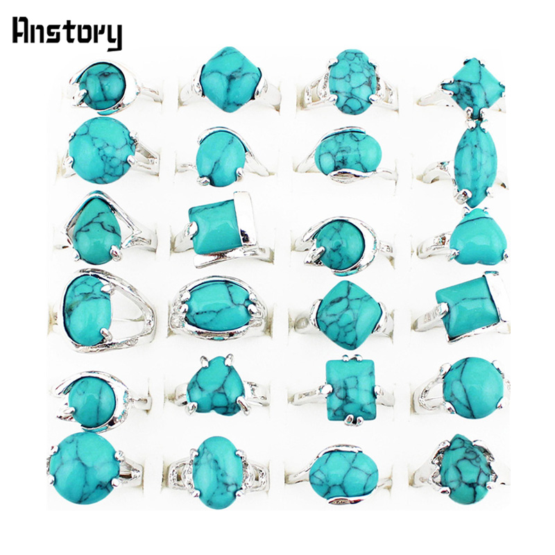 Fashion Jewelry Wholesale Lot 10pcs Silver Plated Mixed Design Turquoise Malachite Stone Rings TR112(China (Mainland))