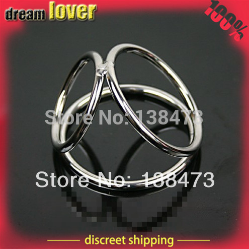 Stainless Steel Cock Ring,TRI-CIRCLE Penis Ring, Sex Toy For Men,Adult Sex Products(China (Mainland))