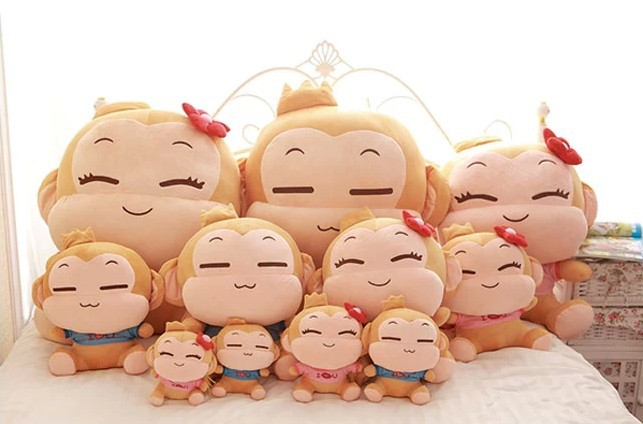 40cm Sitting Height Kawaii Cute Design YOCI Monkey Lover Pair Stuffed Plush Toys Doll 15.7 Inch Pillow Gift 2 pieces/lot(China (Mainland))