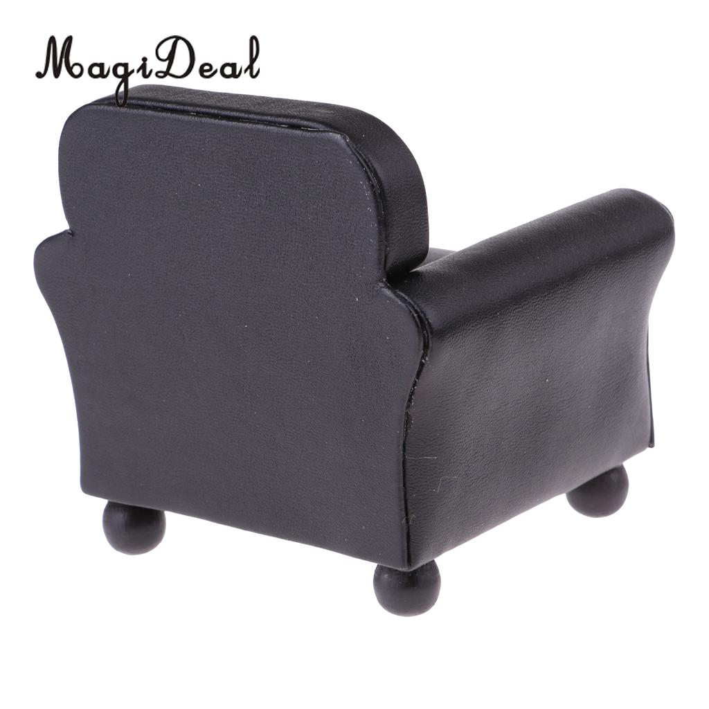 1/12 Scale European Style Leather Single Sofa Couch Armchair Miniature Model for Dollhouse Any Rooms Furniture Decor Accessories