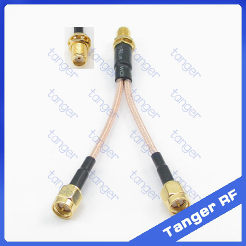 HOT Y type T branch 1 SMA female jack to 2 SMA male plug connector with RG316 RG-316 RF Coaxial Pigtail Jumper cable 8 inch 20cm<br><br>Aliexpress