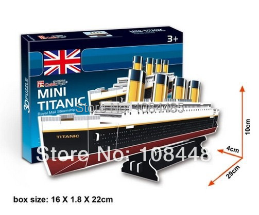 3D Model Building Kits Titanic 3D Paper Puzzles for Kids and Adults Gift Box Packing Free Shipping(China (Mainland))
