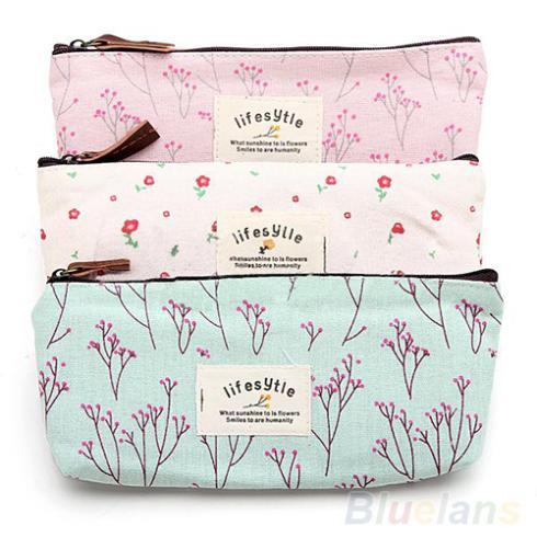 Hot Sale New Flower Floral Pencil Pen Canvas Case Cosmetic Makeup Tool Bag Storage Pouch Purse 1DD6(China (Mainland))