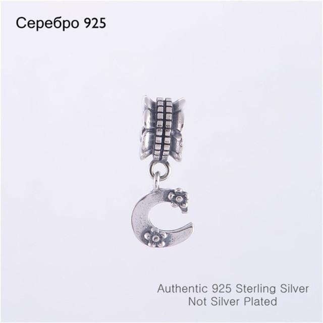 Оптовая продажа подходит пандора браслет DIY создание аутентичные 100% стерлингового серебра 925 удача буква с бусины бренд очарование 2014 ювелирных изделий