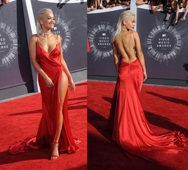 2014 New Fashionable Celebrity Dresses Rita Ora Spaghetti Straps V Neck High Slit Red Prom Dress Backless Long Evening Gown - China Linda's Store store