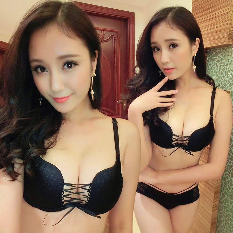 Seamless sexy underwear lace bra strap solid color brushed pants super small chest gather Bra Set(China (Mainland))