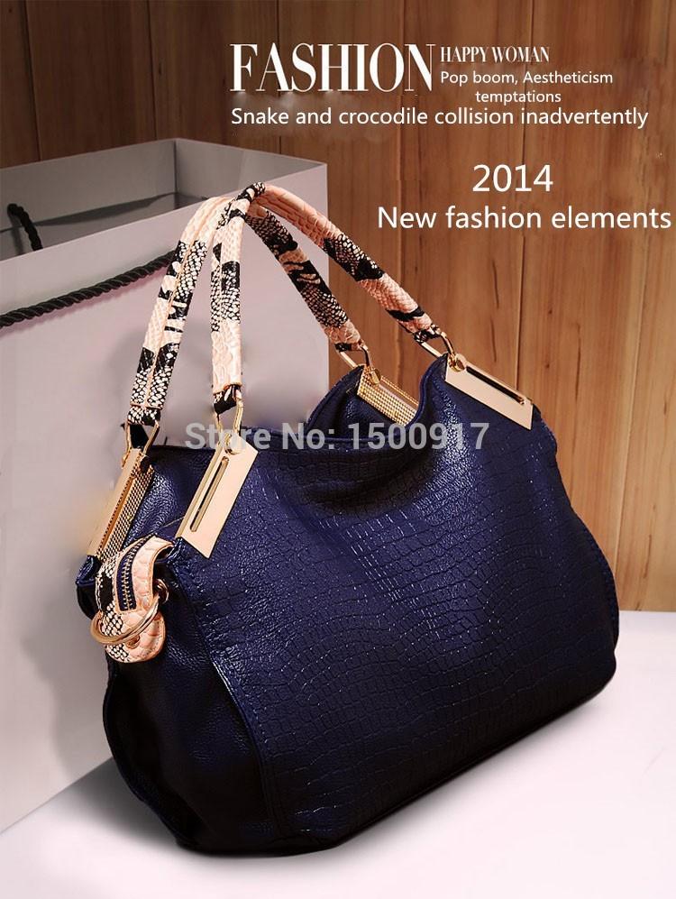 2016 New ashion women handbag crocodile pattern women leather handbag vintage shoulder bag crossbody women messenger bag(China (Mainland))