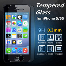 for iPhone 5 5S Ultra Thin 0.3mm Transparency HD Tempered Glass Film Screen Protector Explosion-proof Anti-burst 2.5D wholesale