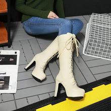 ผู้หญิง Lace Up รองเท้าบูทแฟชั่นสแควร์รองเท้าส้นสูงฤดูหนาว Warm ต่อสู้รองเท้าสีขาว Beige สีดำ(China)