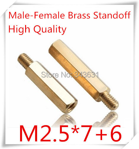 100pcs/lot High Quality M2.5*7+6  M2.5 Brass Standoff Spacer/ M2.5 Male-Female Brass Threaded Spacer hex spacer  <br><br>Aliexpress