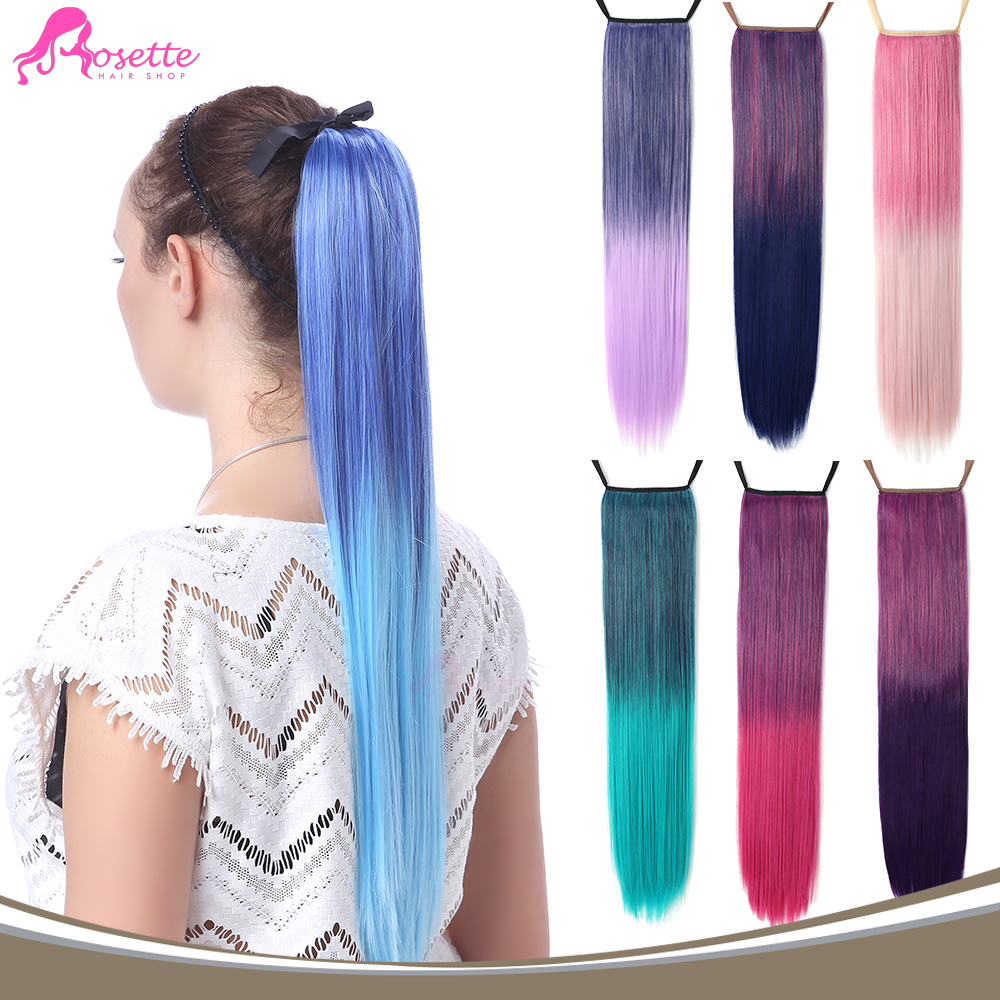"24""Rainbow Hairpiece Straight Ombre Two Tone Clip In Hair Extensions Gradient Color Synthetic Hair For Cosplay Fast Shipping(China (Mainland))"