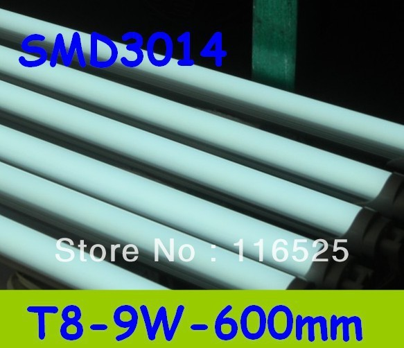 80pcs 9W  600mm T8 LED Tube Light  SMD3014 Warm White/Cool White  PC Cover Fedex Free shipping 80pcs