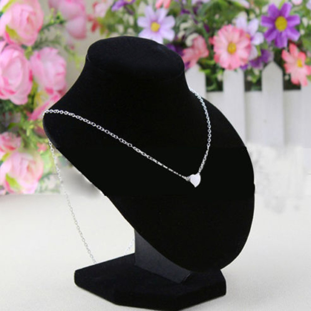 Black Velvet Fabric Mannequin Display Stand Necklace Jewelry Pendant Holder Decorate 16*14 for Displaying Necklaces Bracelets~~(China (Mainland))