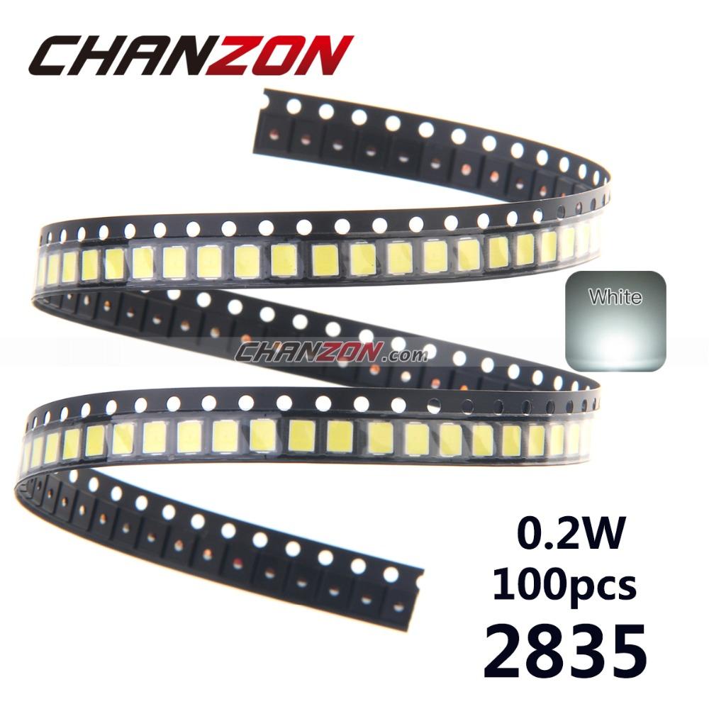 100pcs LED SMD 2835 Chip 60mA 0.2W 21-23LM White 2835SMD LED Light Emitting Diode Lamp SMT Surface Mount SMD2835 LED Beads(China (Mainland))