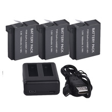3pcs 16000mAh AHDBT-401 Gopro Hero 4 Battery Pack and Dual Charger Port Home Charger for Gopro Hero4 HD Sprot Camera Accessories