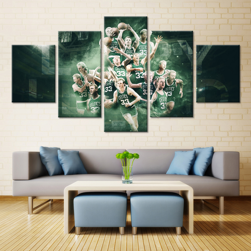 5 Panel Boston Celtics Players Of Basketball Team Canvas Modern Wall Painting Fans Poster Fashion Modern Canvas Printed Painting(China (Mainland))