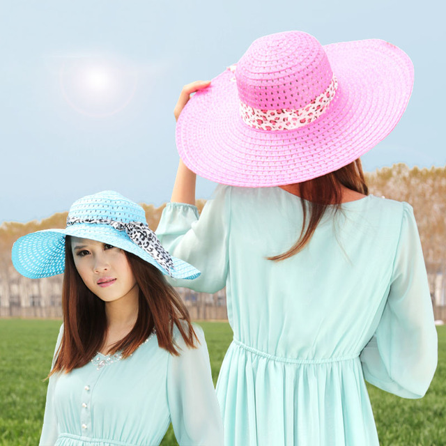 FREE SHIPPING/Hat female summer strawhat large brim hat anti-uv sunbonnet sun beach cap
