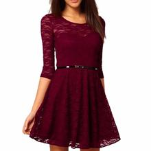 2016 New Candy Color Elegant Lace Dress For Women Women Dresses Plus Size Fashion Lady Winter Dresses(China (Mainland))